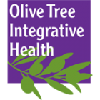 Olive Tree logo: the words Olive Tree Integrative Health in white type against a purple rectangular backgroud. There is a green illustration of an olive tree branch superimposed on the bottom of the rectangle.